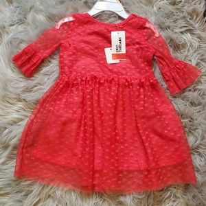 BNWT girls pink dress with hearts Size 2T